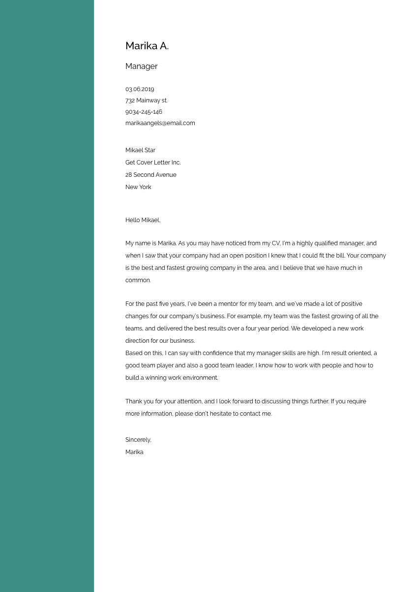 Template of a cover letter for a receptionist job application