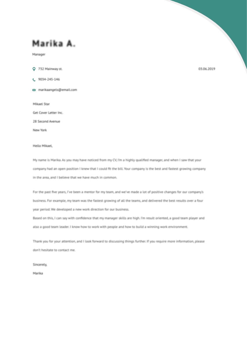 Template of a best cover letter for account manager