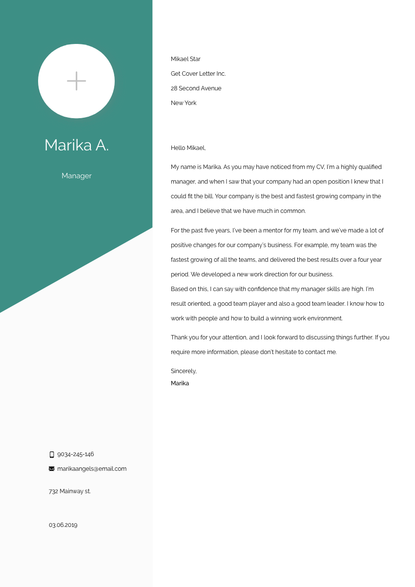 image of a cover letter for a microbiologist trainee