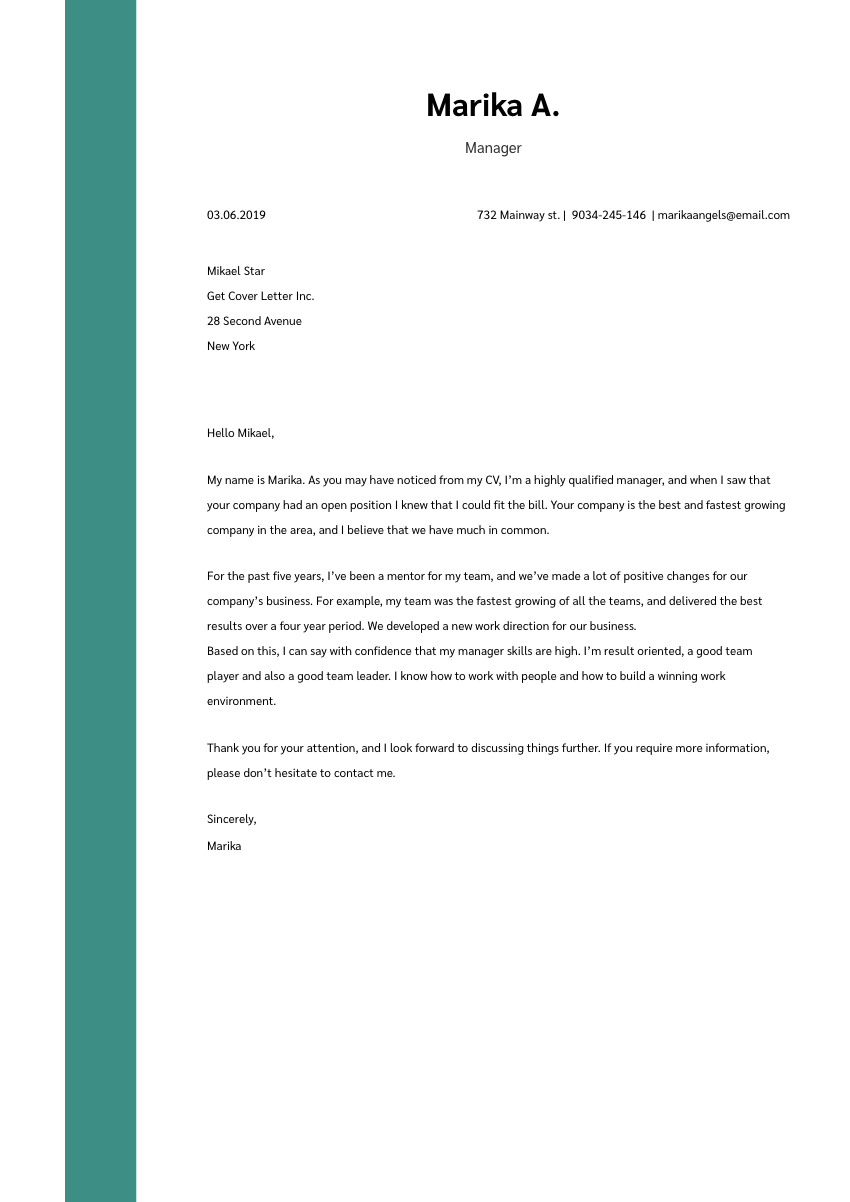 a manufacturing technician cover letter sample