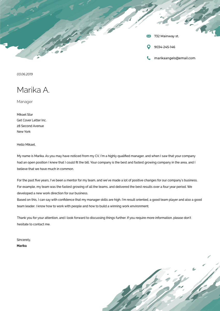 a branch manager cover letter sample