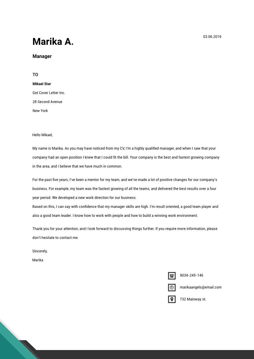 image of a cover letter for a veterinarian