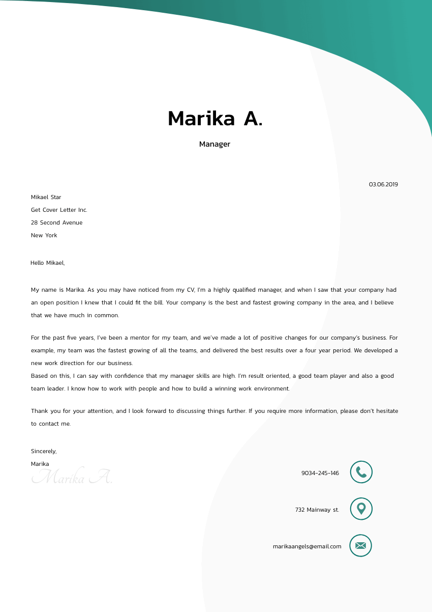 image of a cover letter for a manufacturing technician
