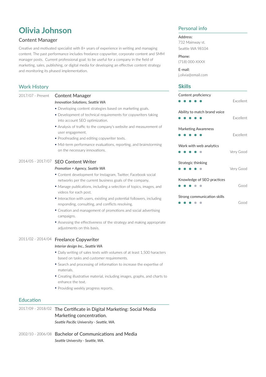 a general counsel resume example