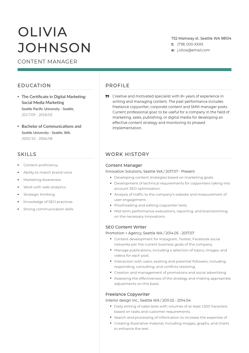 image of a resume example for a communications director