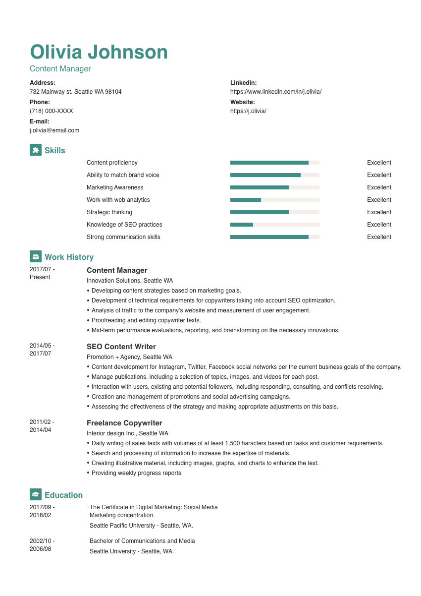image of a resume example for a wellness coordinator