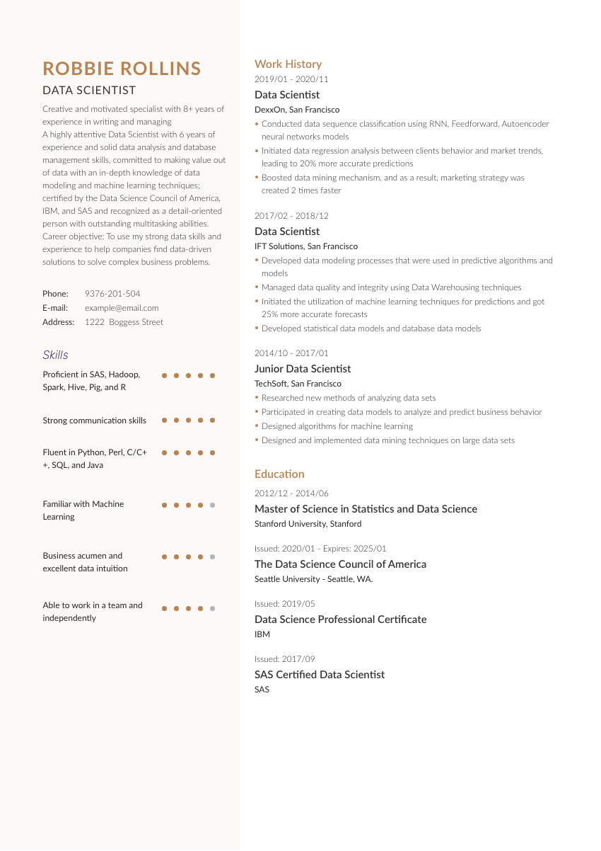 image of a resume example for a data scientist